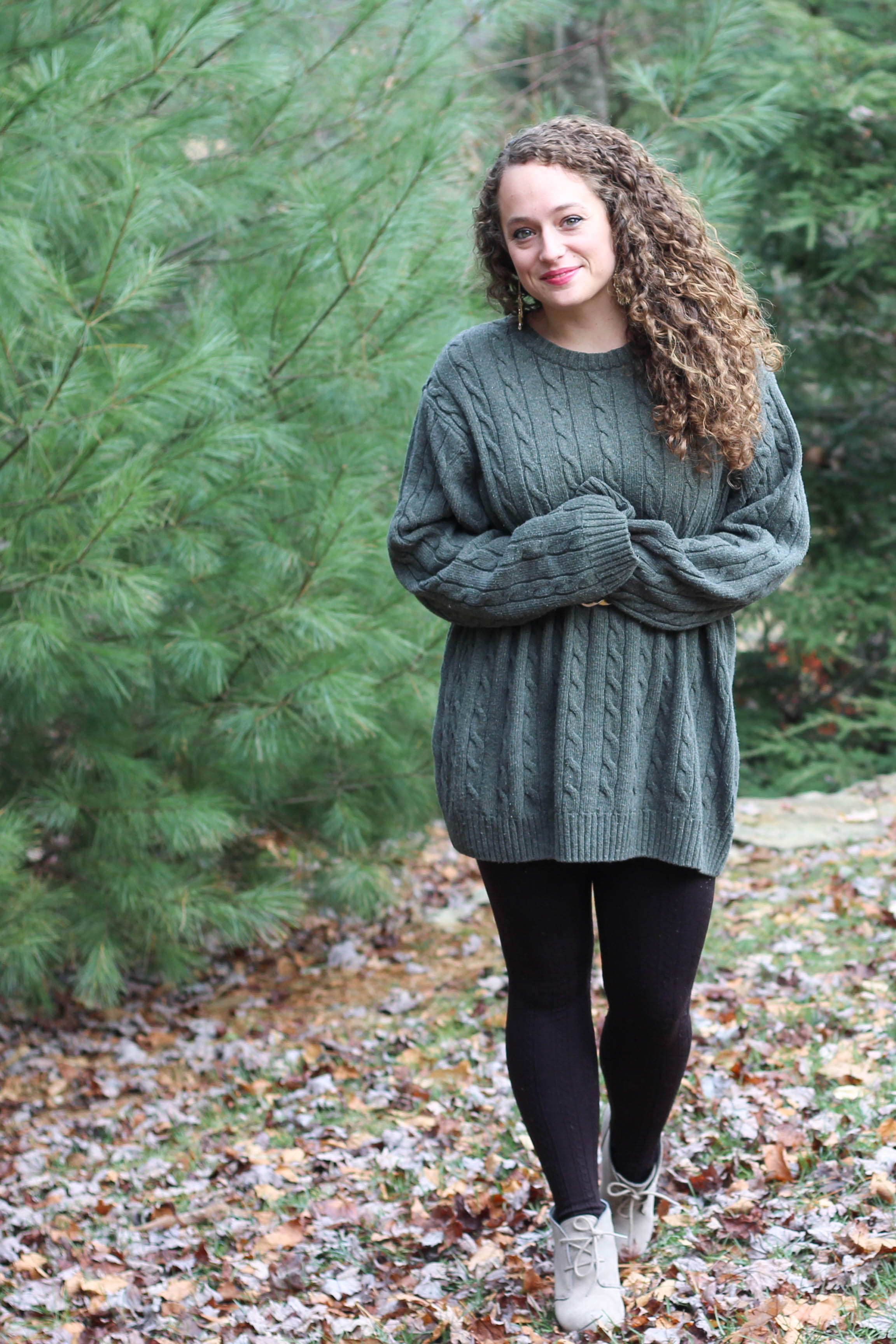 Green oversized sweater, tartan plaid scarf, booties